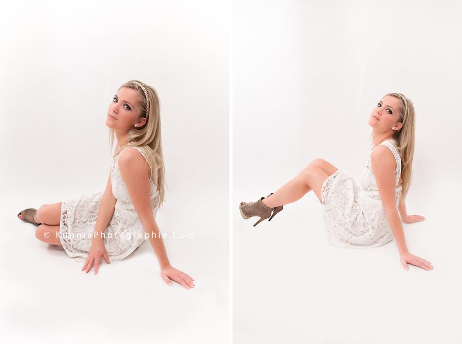 séance photo en studio Caen Aurore Girl robe en dentelle enfantin séance mode modèle
