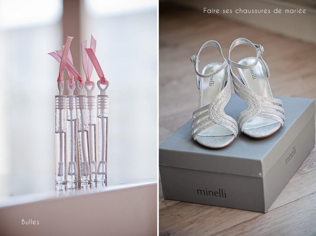 chaussures de mariée sortie église avec des bulles mariage orne photographe mariage orne