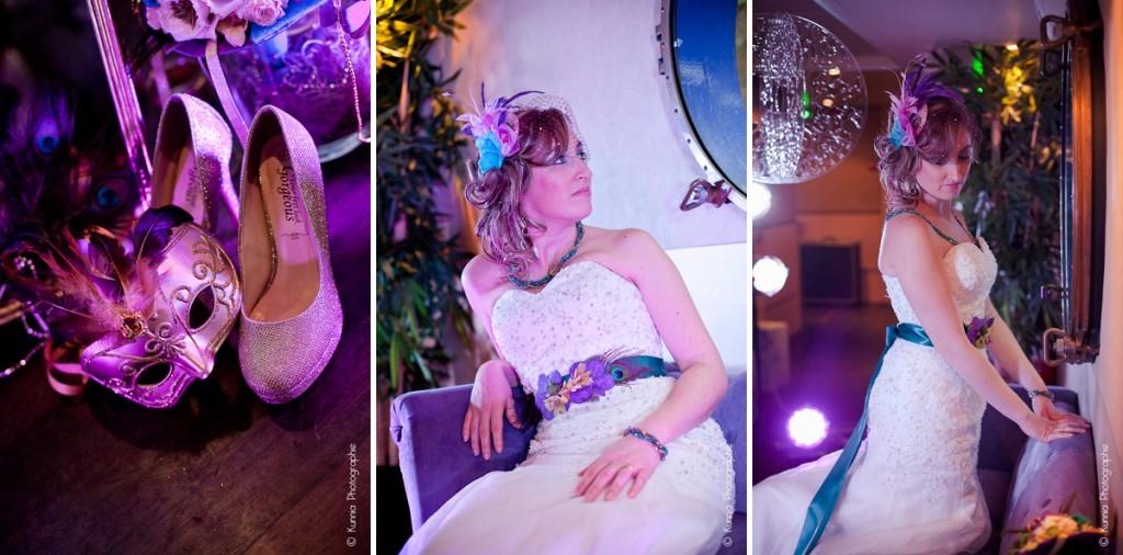 Séance Inspiration Plume de paon mariage d'hiver normandie rouen caen maeline happy events ma boite a deco sautoir et poudrier mariage en emeraude violet et or